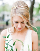 bride wearing gold leaf crown