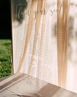 acrylic and calligraphy scripted seating chart