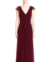 v-neck flutter sleeve burgundy gown