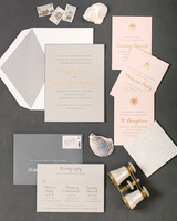 gray and pink wedding invitation suite