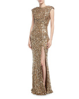 gold cap sleeve gown