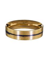 blue strip gold wedding band