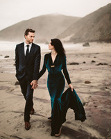 dark green velvet teal wedding dress
