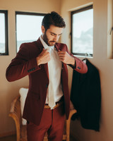 red and white Topman suit