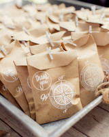 compass wedding ideas brown paper bags