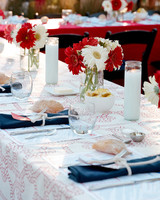 red, white, and blue place settings