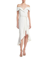"alice and olivia ""josie"" off shoulder ruffle wrap dress"