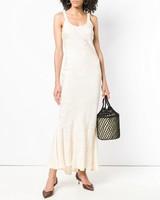cream sleeveless engagement party dress