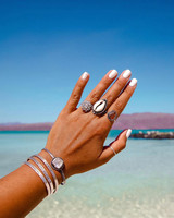 engagement ring selfie beach and silver jewelry
