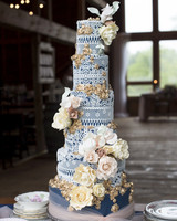 eyelet lace overlay wedding cake