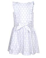 blue and white flower girl dress