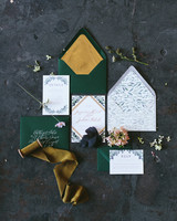 green and gold wedding stationery