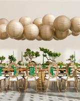 hanging gold Chinese Paper Lanterns