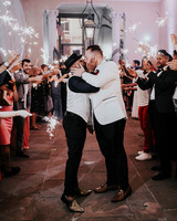 joe tim new orleans wedding sparkler send off couple kiss