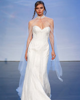 justin alexander signature fall 2019 beaded strapless sweetheart sheath with sheer cape