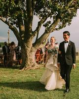 leah michael wedding recessional couple