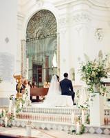 lisa greg italy wedding ceremony alter church couple