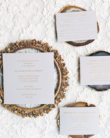 Simple White and Gold metallic Invitations