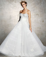 marchesa bridal wedding dress a-line strapless floral embroidery