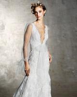 marchesa bridal wedding dress deep v long sleeves floral embroidery