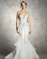 marchesa bridal wedding dress strapless ruffles bow