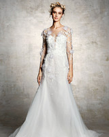 marchesa bridal wedding dress floral embroidery long sleeves a-line