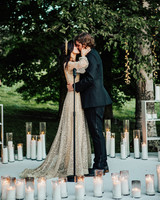 bride and groom wedding ceremony first kiss