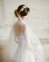 bride wedding gown floral headpiece tulle veil