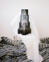 micro tier wedding cakes metallic with faux fur display