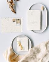 raw edge ivory wedding stationary suite