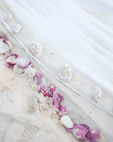 Beachy Ceremony Aisle with Purple Petals