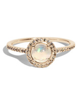 halo band opal engagement ring