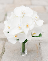 Simple And Elegant All White Orchid Wedding Bouquet
