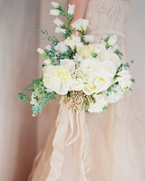 White Wedding Bouquet with Blush Ribbon