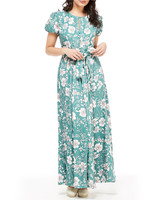 green floral maxi printed mob dress