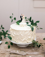 Simple Wedding Cake with Vintage Topper