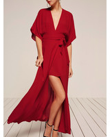 high low red v neck dress