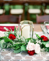 red centerpiece candle flowers