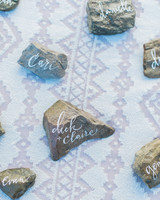 Calligraphed Rock Escort Cards