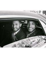 grooms in getaway car