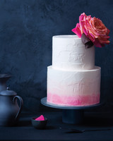 ombré washed cake with single large flower