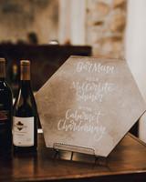 hexagon-shaped slate menu
