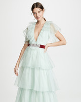 sea foam green plunge neck layered tulle dress