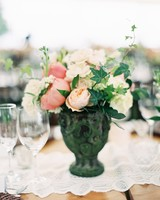 Pink, white and peach rose wedding centerpiece