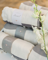 Gray and white blanket wedding favors