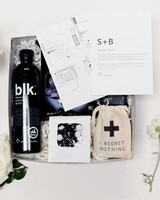 wedding black and white guests welcome box