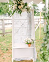 large ceremony program display with tulle