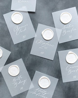 vellum escort cards with wax seals