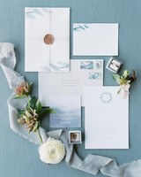 pale blue watercolor wedding invitation