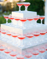 wedding champagne towers pink champagne on staircase structure